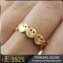 Fashion 24k Gold plated 925 sterling silver rings smile face emoji ring adjustable