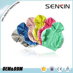 Wholesale OEM Fleece Fabric Children Hoodie Solid Color Custom Zipper Up Kids Thick Hoodies