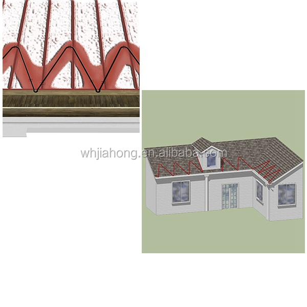 Roof and gutter defrost snow heating cable in winter