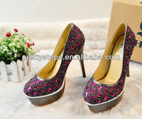 Pretty Steps wholesale trendy thick platform ladies high heel shoes with diamond studded heel