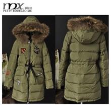 Alta calidad para mujer cuello de piel Parka para mujer abrigo chaqueta militar de largo