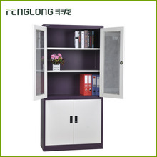 fireproof office furniture stainless glass sliding 4 doors steel document cabinet