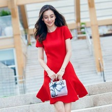 new short sleeve red bandage evening dress for muslim women