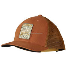 New style brown trucker mesh cap ventilated 6 Panel trucker cap with personalized embroidery applique