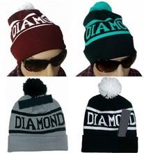 Customized jacquard winter ski Diamond pom knitted beanie hat T-216