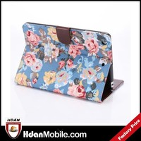 For ipad mini 3 flower leather case,card slot case for ipad mini 3,for apple ipad mini 3 fashion case