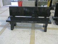 European style black granite cemetery bench memorial bench