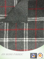Popular double face woven grey/white/red plaid polyester/wool/acrylic/viscose/other blend fabric