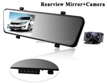 "Car rear view mirror camera 4.3"" HD car driving video recorder dual lens car dash cam H.264+MOV+Wide Angle of 140 degrees"