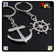 Romantic Lover Gift key chain Ring keychain Anchor & rudder Keepsake/rhinestone metal keychain