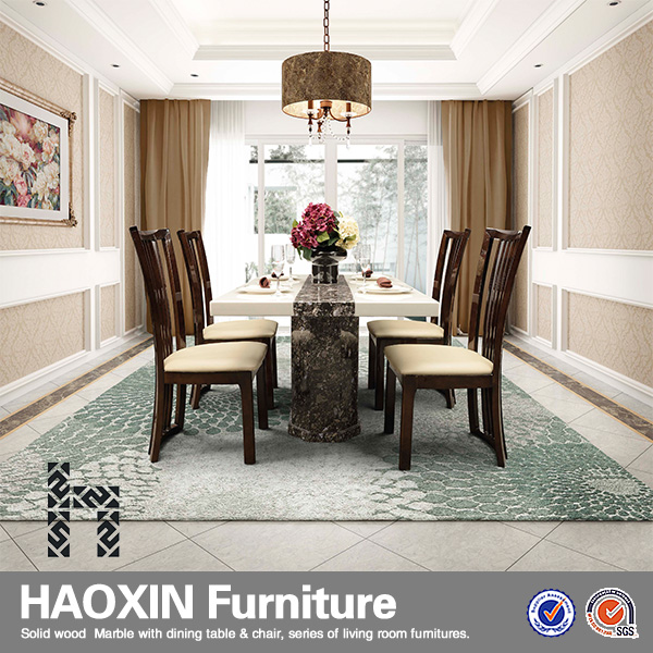 Hot Selling High Fashion Good Quality Clear Marble Top Dining Room Sets For S