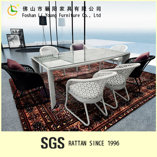 UV Resistant Poly Rattan Outdoor/Indoor Furniture Fashionable Dining Table and Chairs