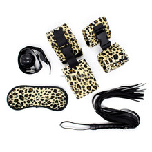 5pc Tiger Leopard Fur Bondage Kit including Eyes Mask, Whip, Handcuffs, Ankle Cuffs and Ball Mouth Open