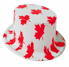 canada maple leaf flag party hat for national day or carnival/plastic toy hat for kids/decorative festival round hat