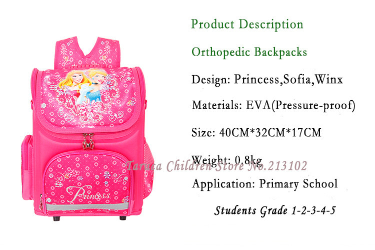 Orthopedic Детский School Bags For Girls  2014 Kids Backpack Monster High WINX Book Bag 3 Princess Sofia the First Schoolbag