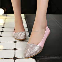 shiny diamond ladies wholesale china flat shoe