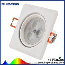 factory supply 3w 5w7w 12w square suspended recessed led ceiling light with CE RoHs FCC certification