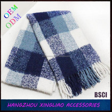 super soft unisex 100% polyester boucle checked woven scarf for winter