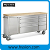 """72 inch Professional stainless steel 72"""" tool chest with wooden top"""