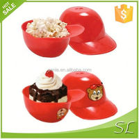 Red plastic baseball helmet wholesale ice cream containers