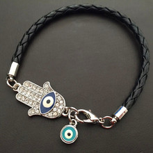 HOT SALE Custom Body Jewelry Tribal Indian Jewelry Turky Blue Evil Eye Leather Bracelet
