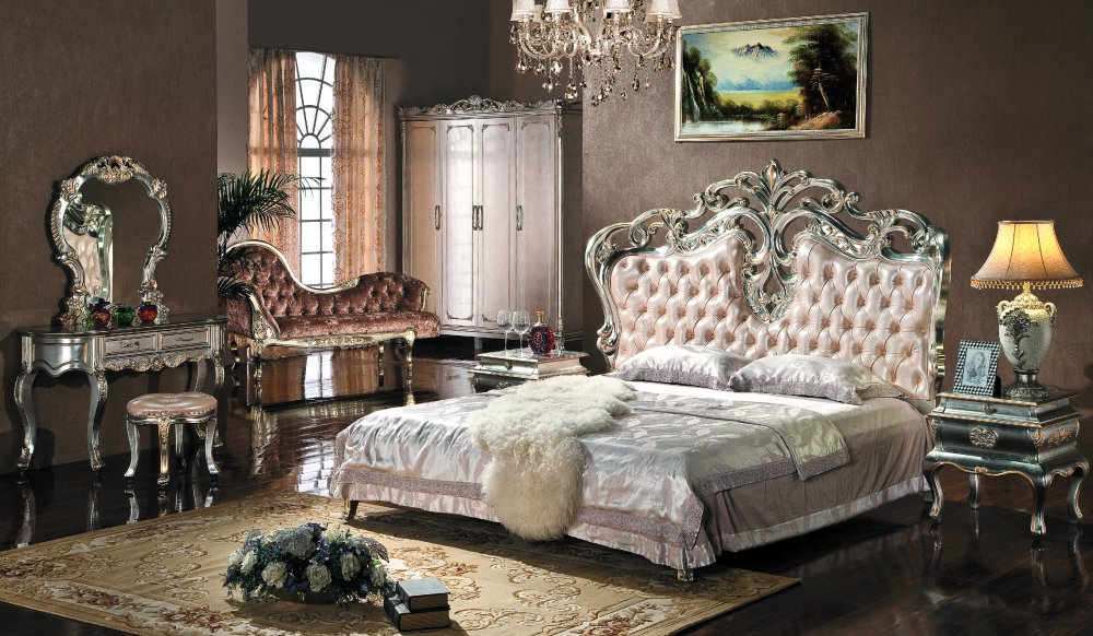 Luxury king size bedroom furniture sets - European Style Bedroom Furniture Set Upholstered Headboard