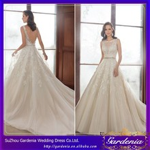 Hot Sale Elegant A-Line Boat Neck Sleeveless Applique Lace Sash Floor Length Wedding Dress Tailor(CC3578)