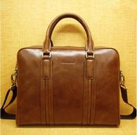 High quality businessmen brown Fashion Handbag men Genuine Leather Handbag for Men