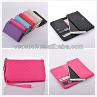 Wristlet Grid PU Leather Wallet Case Cover for Samsung Galaxy Note 3 N9000 Note 2 N7100 Carry Bag