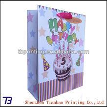 china custom delicate happy birthday packaging bags