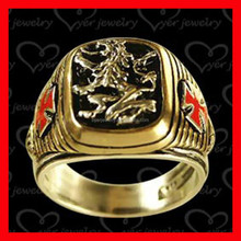 gold signet ring mens ladies enamel with black painting