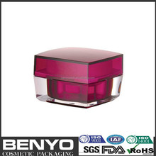 beautiful color square shape classical cosmetic red 30g luxury acrylic jars