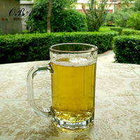 Best selling German-style popular machine-made high-quality lead-free crystal 400ml beer glass with handle