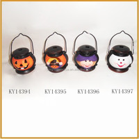 lantern shape ceramic halloween pumpkin with tealight holder decoration