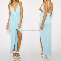 OEM service dongguan garment manufacturer jersey mint maxi dress