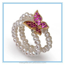 MECY LIFE Butterfly-shaped 4mm Natural white pearls &S925 silver&mirco Zircon finger ring elastic bands