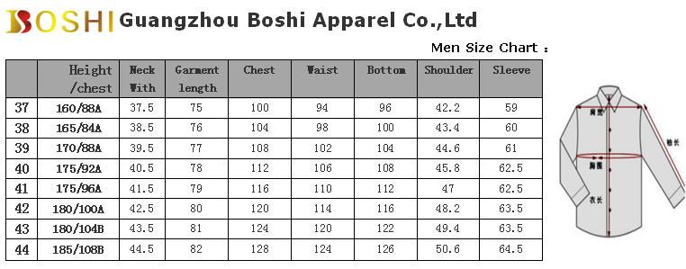 Mens Dress Shirt Size Chart Men Dress Shirts Business Men