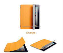 Folding kickstand slim smart tablet cover case with transparent back shell for iPad Mini(orange)