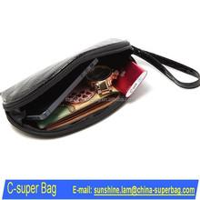 Black Crocodile PU Leather Cosmetic Bag Wristlet