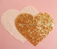 hot sell lovely custom wholesale sequin heart appliques for clothing