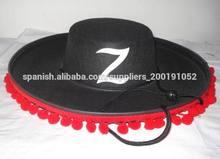 negro mens sombrero de fieltro español con pompones rojos