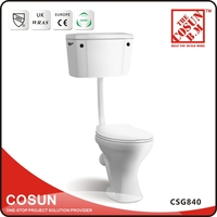 Siphonic UPC Ceramic WC Sizes Toilets With High Tank