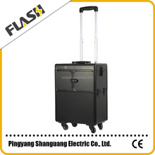 Black Color High Quality Aluminum Professional Beauty Cosmetic Trolley Case