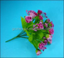 SJF56 Plastic rose stems , plastic rose flowers , purple fabric rose flowers