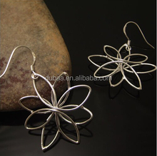 925 Sterling Silver Hollow Sunglower Hook Earrings,Unique Vintage Silvery Hand-Crafted Wired Flower Earrings Jewelry