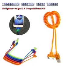 USB LED light Retractable Sync Data Charging Charger Cable for Apple iPhone 3GS 4 4S 4G for iPad 2 3 for iPod nano touch Adapter