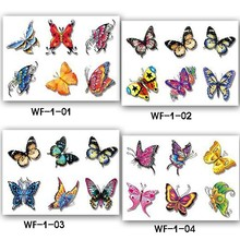 3D stereo butterfly Temporary Tattoo sticker Inspired Colorful Black Body Art