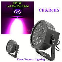 New Hot!!! Professiona Stage Light 18*1W RGB Cheap LED Flat Par 64 dj disco small party lights