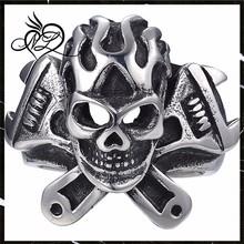 Mens Stainless Steel Skull Head Ring Spanner Wrench Tool Biker, Black Silver