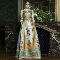 Top Grade New Vestido Formal Long Dress 2015 Autumn Women Golden Print 3/4 Sleeve Big Expansion Long Maxi Dress Wedding Party